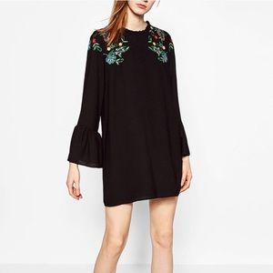 ZARA FLORAL EMBROIDERED DRESS - BRAND NEW